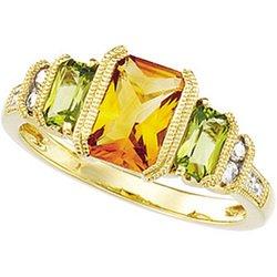 New Great Buy 14K Yellow Gold Genuine Peridot, Genuine Citrine & Diamond Ring