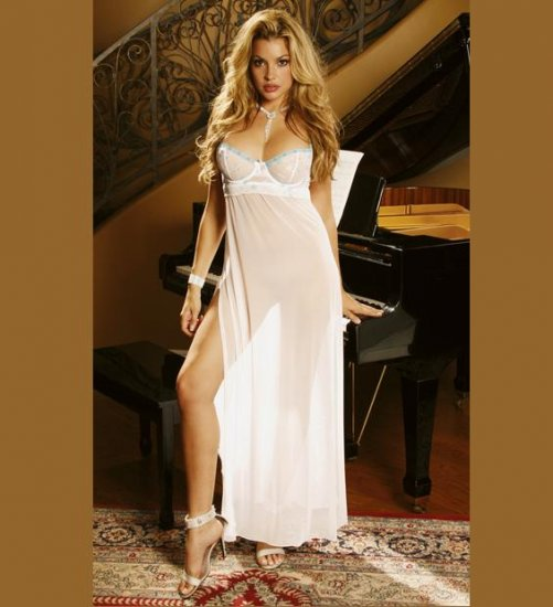 LONG MESH GOWN with Sexy Side Split  SIZES: S-M-L-XL  #DL1039  Women's Lingerie