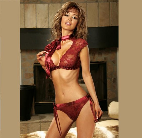 Burgandy Lace TOP with THONG  SIZES: S-M-L #DL1206  Women's Lingerie