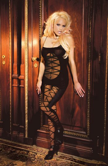 Opaque Criss Cross BODYSTOCKING with Open Crotch #DLG2094