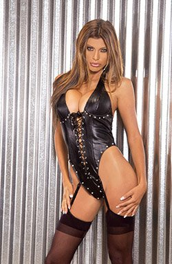 Lace Up LEATHER TEDDY #DLL3027 Plus Size