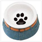 Blue Jean Ceramic Pet Bowl