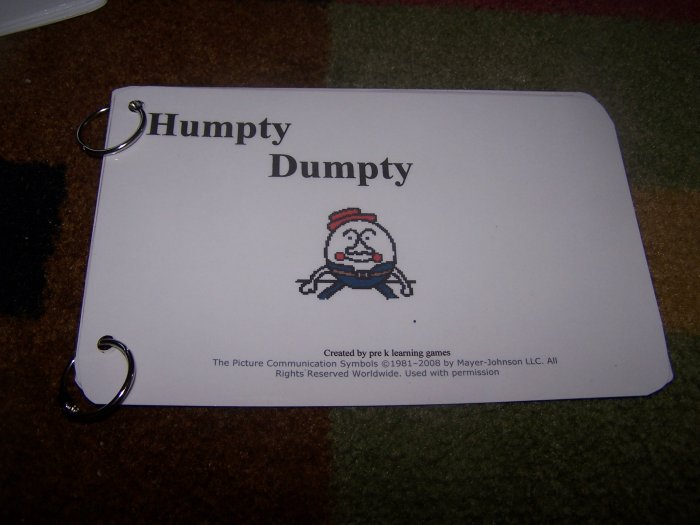 Humpty Dumpty Book autism pecs speech delay prek