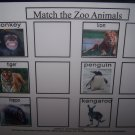 Zoo Animal match board autism pecs pre k