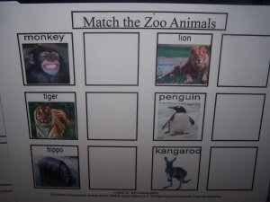Zoo Animal match board autism pecs pre k