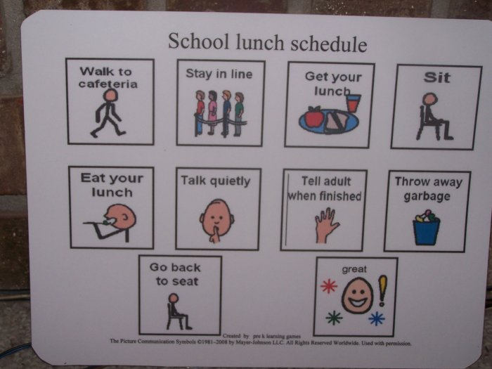 School Lunch Schedule Board Autism Pecs Pre K