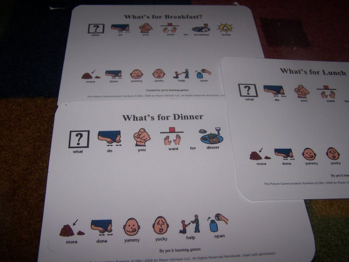 What's for Dinner breakfast and lunch board autism pre k pecs