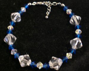 Swarovski crystals in capri blue and crystal clear AB- Bracelet