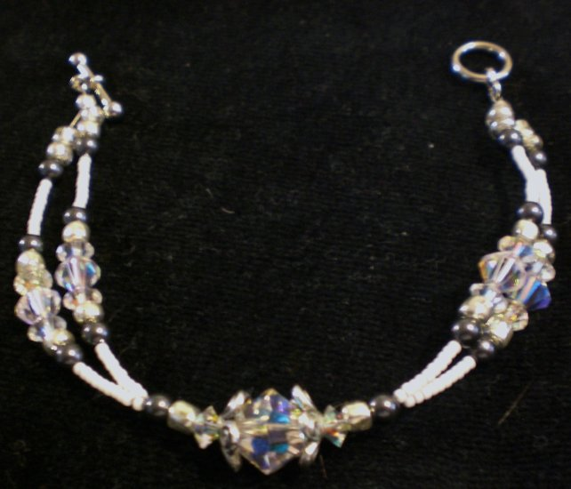 """""""Double Bracelet""""-Swarovski crystals in clear AB and Swarovski pearls in black with seed beads"""