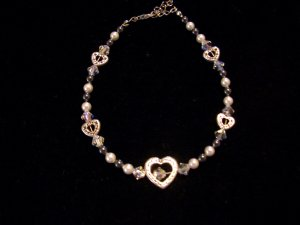 Black & white Swarovski crystal pearls and clear Swarovski crystals with heart accents-Bracelet