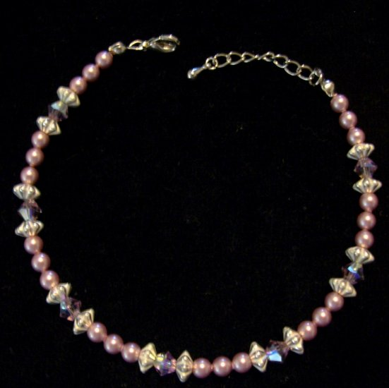 Anklet- genuine swarovski crystals in light amethyst and powder rose Swarovski crystal pearls