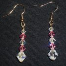 Rose and crystal clear Swarovski crystal drop earrings