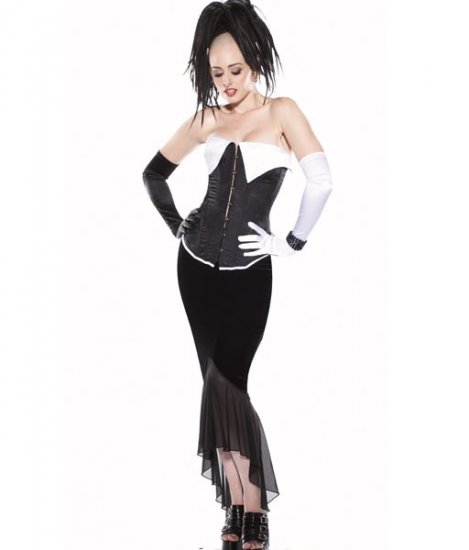 Velvet & Mesh Long Skirt Spandex