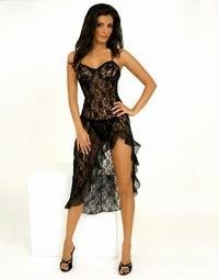Beautiful & Sexy Black Lace Gown & G-String S-XL