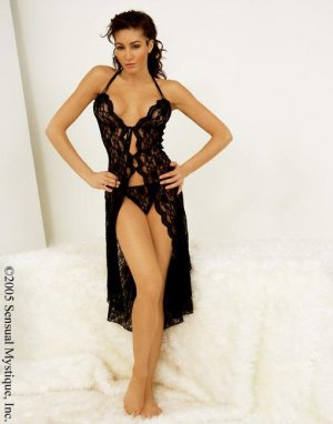 Shiny Lace Long Scalloped Gown & G-String