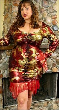 Sexy Plus Size Dress w/ Mesh Ruffles Metalic Foil