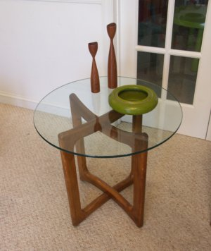 Danish Modern Teak and Glass End Table