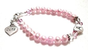 Fresh Water Pearls Child Initial Bracelet