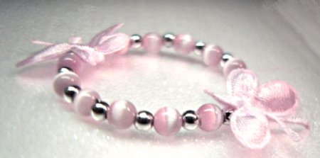 Pink Satin Butterfly Child Bracelet