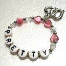 Pink Hearts Name Bracelet