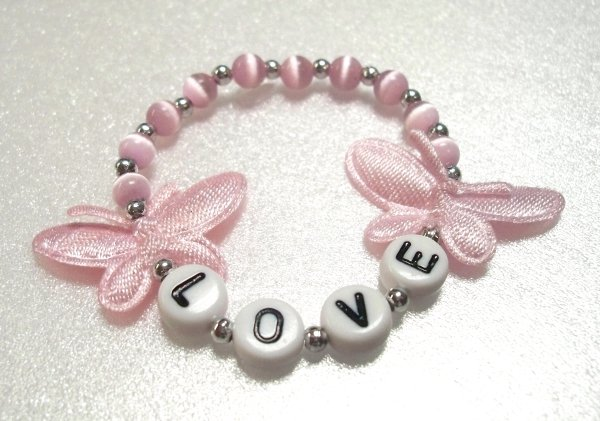 Pink Butterflies Child Name Bracelet