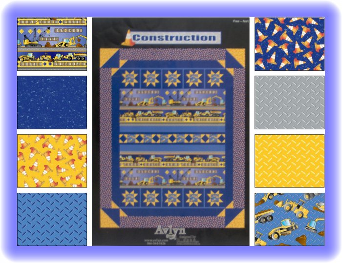 Avlyn Creations Possibilities Construction Equipment Quilt Top Fabric Kit