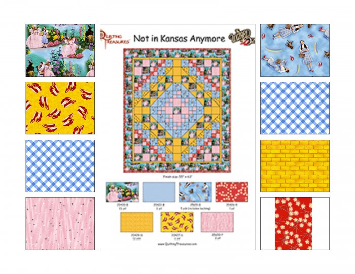 WIZARD OF OZ QUILT TOP KIT Not in Kansas Anymore USING OVER RAINBOW QUILTING FABRIC