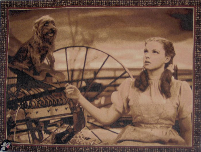 Wizard of Oz Under the Rainbow Sepia Tapestry Wall Hanging Judy Garland as Dorothy and Toto