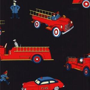 LAST PIECE 1+ Yard Michael Miller Vintage Fire Trucks Fireman Dalmatian Retro Kids Fabric