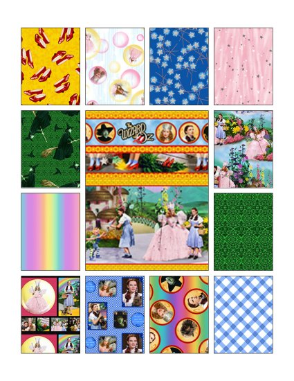 Wizard of Oz Over the Rainbow 14 Piece Cotton Fabric Lot by Quilting Treasures