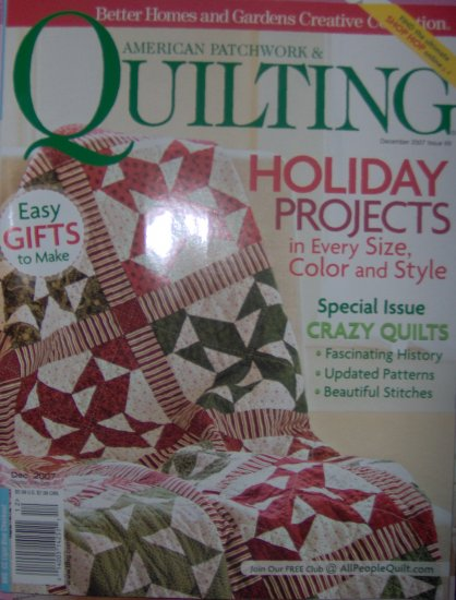 American Patchword & Quilting December 2007 Christmas and Holiday Projects Magazine NEW