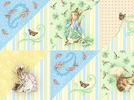 Beatrix Potter Peter Rabbit Alphabet Garden Half Square Triangle Block Character Kids Cotton Fabric