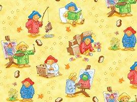 2+ YARDS Paddington's Adventure Paddington Bear Scenes on Yellow Cotton Fabric LAST PIECE