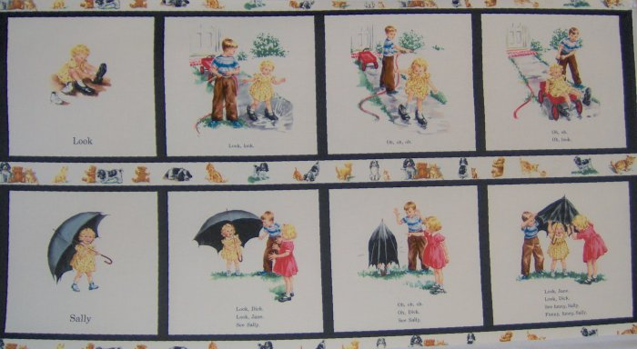 Michael Miller Dick and Jane Sally Look Panel Creme Reto Kids Cotton Fabric