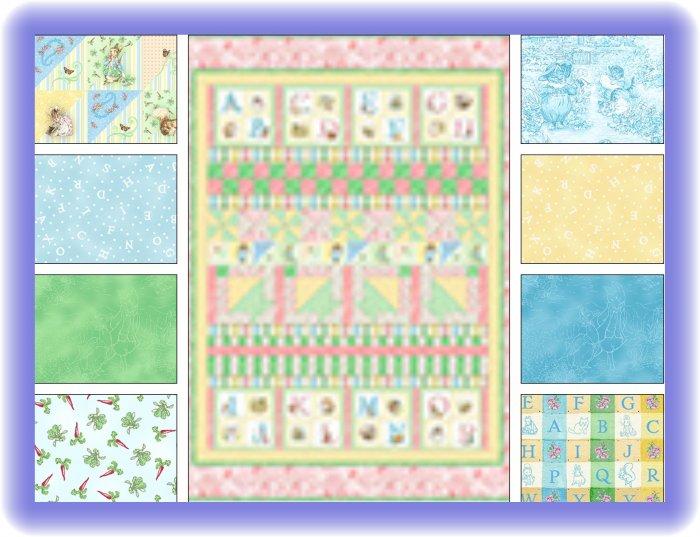 Beatrix Potter Peter Rabbit Blue Alphabet Garden Fabric Quilt Kit