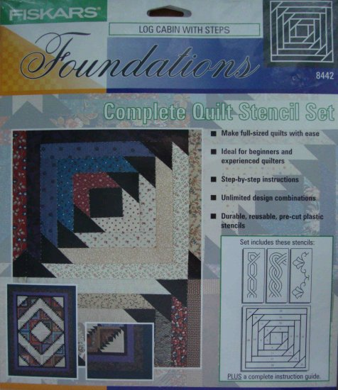 Fiskars Log Cabin with Steps 8442 Quilt  Stencil Set Pattern Template for Foundation Piecing