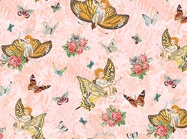 FQ FLUTTER FANTASY Pink Butterfly Fairy Angel Toss FABRIC by Quilting Treasures Fat Quarter