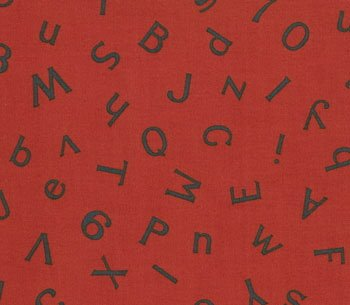 American Jane Wee Play Red Alphabet Numbers ABC 123 Retro Kids Cotton Fabric by Moda Fat Quarter FQ