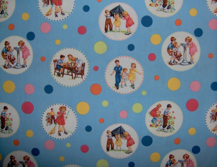 Dick & Jane Circle Sally Blue Retro Fabric from Michael Miller & Pearson Educational Fat Quarter FQ