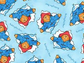 1 1/3+ Yards Paddington Adventures Bear Toss on Blue Quilting Treasures Fabric LAST PIECE