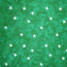 FQ Santee Blender White Stars on Green Marbled Cotton Quilt Fabric Fat Quarter