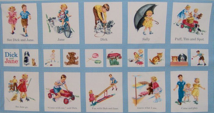 Dick and jane wall hanging quilt blocks retro kids cotton for Retro kids fabric
