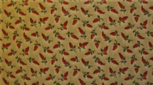 F8 Thimbleberries Red Flowers on Tan Quilt Club RJR Lynette Jensen Fabric Fat Eighth F8th