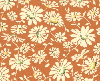 1 3/4- Yard MODA American Jane Wee Play Retro Orange Daisies Cotton Quilt Fabric