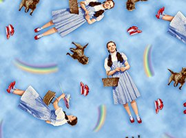 3/4 Yd Wizard of Oz Over the Rainbow Dorothy Toto Ruby Slippers on Blue Cotton Fabric Bolt End