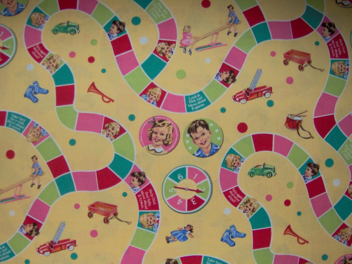 1.25+ Yds Dick & Jane Game Board Retro Kids Cotton Fabric by Michael Miller Bolt End