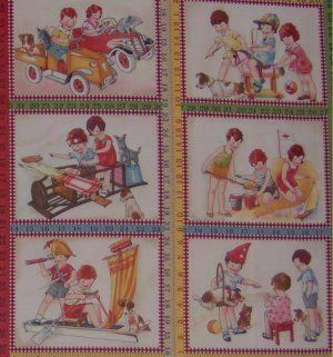 Moda American Jane Wee Play Retro Kids Playing Pretend Vintage Scenic 12 Blocks Fabric Panel