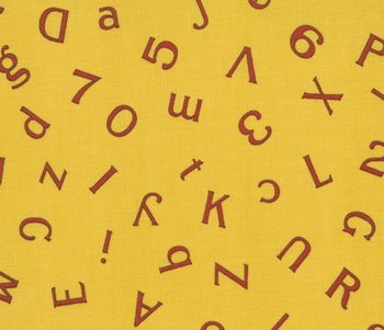 1 1/2 Yard American Jane Wee Play Golden Retro Yellow Alphabet Numbers ABC 123 Moda Fabric Bolt End
