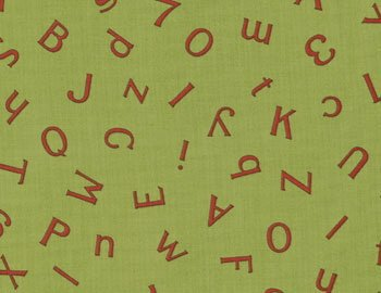 BTY Moda American Jane Wee Play ABC 123 Alphabet Numbers on Retro Green Cotton Fabric By the Yard