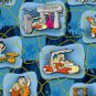 FQ Meet the Flintstones Baby Scenic Blocks on Blue Cotton QT Express Fabric Fat Quarter